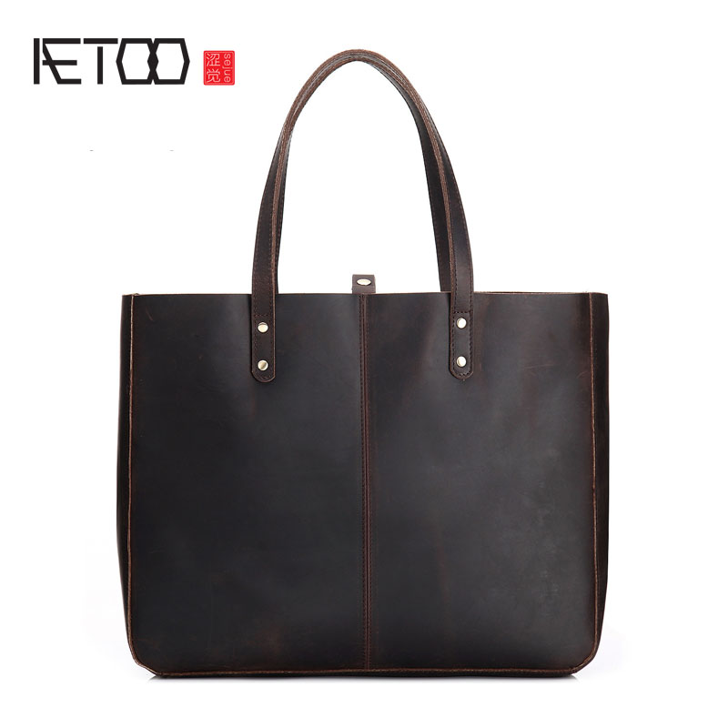 AETOO Retro leather female bag female 2017 new shoulder bag casual large capacity leather ladies handbag Europe and the United S the new europe and america portable shoulder bag handbag large capacity portable shoulder bag business travel luggage bag