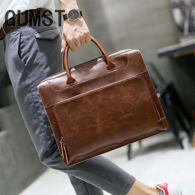 GUMST Men s Briefcase Handbag Crazy Horse Leather Messenger Travel Bag Business Men Tote Bags Man