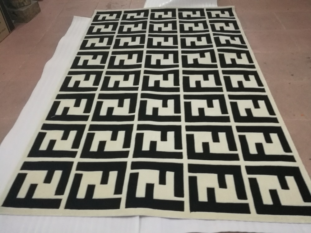 Fashion Double F Logo 100 Arcylic Carpet Rug 3D High and Short Hair Effect MD ACR015