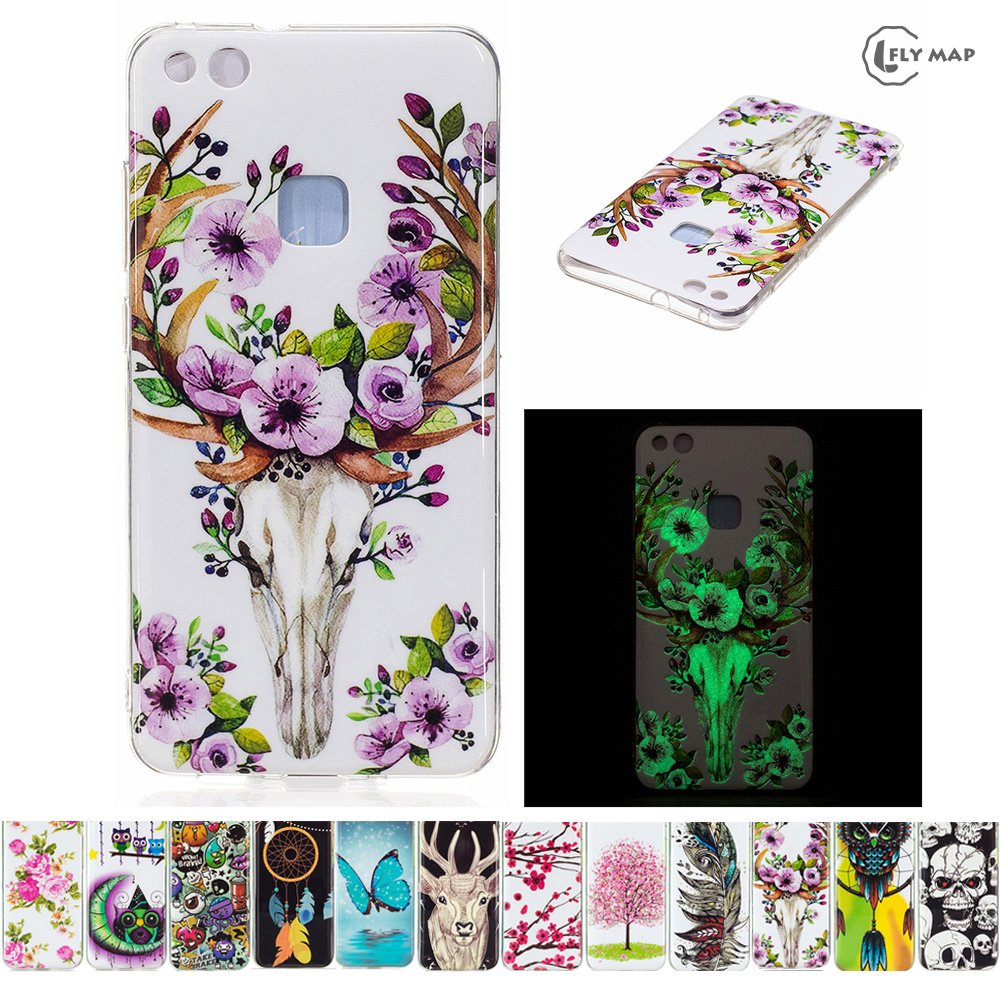 Luminous TPU Case for Huawei P10 Lite WAS-LX1 Soft Silicone Floral Protect Cover for Huawei P 10 Lite P10Lite WAS LX1 TL10 Case ...