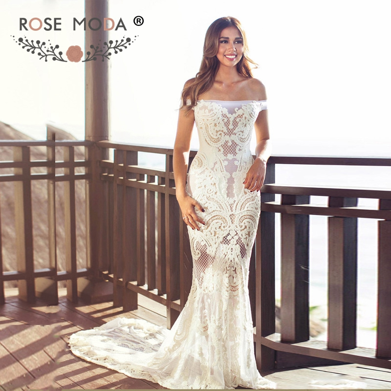 Heavily Pearl Beaded Ivory over Champagne Wedding Dress with See ...
