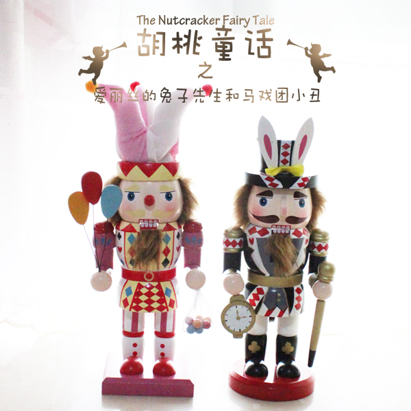 30cm ultra fat alice rabbit and clown wooden nutcracker christmas decorations seasonal gift 2pcsset