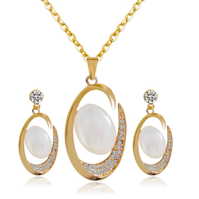 F&U Gold Color Opal with crystal Zinc Alloy Wedding Necklace and Earrings Jewelry Sets for Party S011
