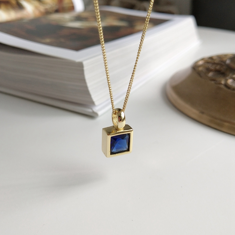 LouLeur 925 Sterling Silver Dark Blue Square Zircon Geometry Pendant Necklace Gold Exquisite Necklace For Women Jewelry Charms