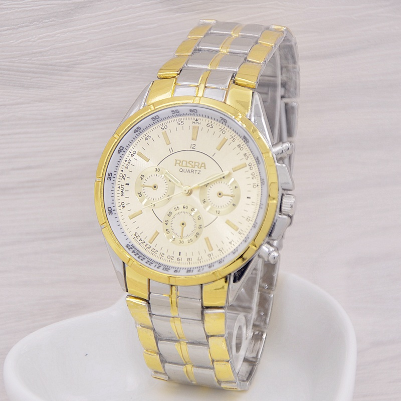 2016 New Fashion quartz Watch Men Gold Steel Watches Luxury Brand ROSRA Wristwatches Man Clock Montre Homme relogio masculino rosra fashion gold watches men stainless steel business quartz watch orologio uomo hour clock montre homme relogio masculino