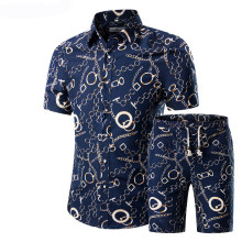 2019 Zomer Mode Bloemenprint Shirts Mannen + Shorts Set Mannen Korte Mouwen Casual Mannen Kleding Sets Trainingspak Plus size 5XL(China)