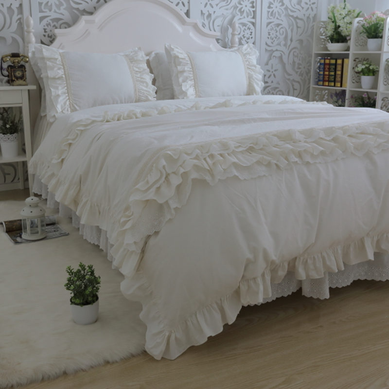 Amazing luxury bedding set king size embroidery big ruffle lace duvet cover bed sheet bedspread princess