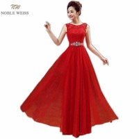 NOBLE WEISS Robe De Soiree Scoop Pink Red Lace Bow Long Evening Dress Bridal Sleeveless Transparent Banquet Sexy Evening Gown