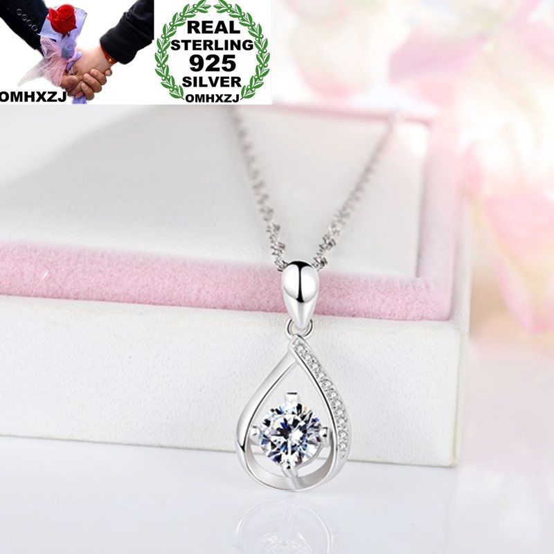 OMHXZJ Wholesale European Fashion Woman Girl Party Wedding Gift Water Drop AAA Zircon 925 Sterling Silver Pendant Necklace NA44