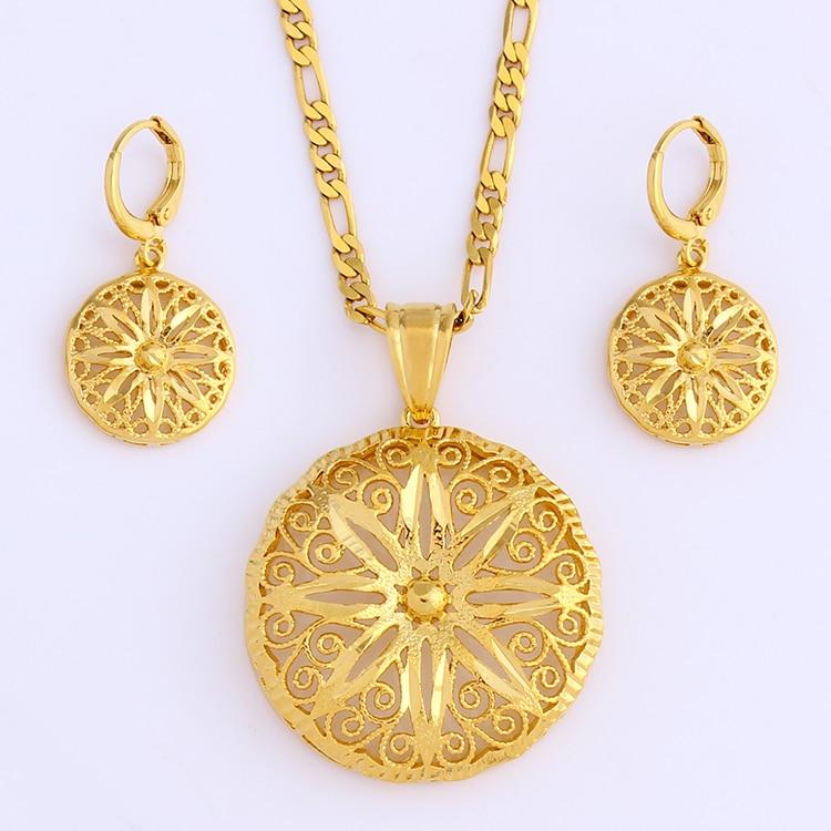 Gold Geometric Round Flower...
