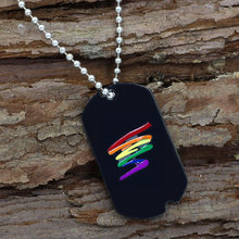 youe shone Stainless Steel Black Gay Pride Dog Tag Rainbow Squiggle LGBT Gay and Lesbian Pride Necklace(China)