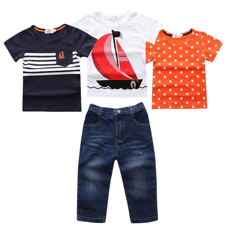 4Pcs Suit boys Clothing Set Autumn summer Clothes sailboat T shirt + Jeans Pants Outfits vetement garcon For 2 3 4 5 6 7 Years