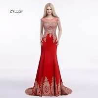 ZYLLGF Couture Evening Dresses Fishtail O Neck Sheer Back Appliques Beaded Long Red Evening Prom Dresses