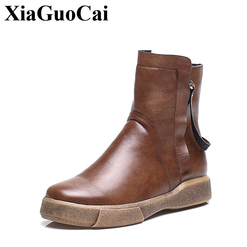 XiaGuoCai New Arrival England Retro Ankle Boots Women Shoes with Fur Warm Winter Cotton Boots Women Falt Casual Shoes  H578 new england textiles in the nineteenth century – profits