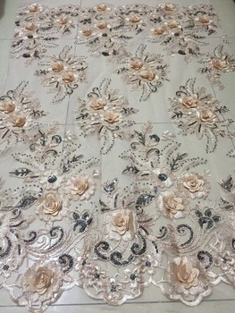 3D African Lace Fabric With Sequins 2018 Fashion French Lace Fabric Nigerian Fabric Bridal High Quality For African Women CD2136