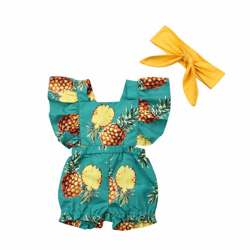 Bebé niño Niñas Ropa de arco diadema sin respaldo de piña collar cuadrado camiseta 3 pc niños traje