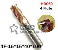 4f-16 hrc60 Hartmetall-schaftfräser Original Produkt Platz Abgeflachte 4 Flöte Beschichtung Fabrik Verkauf Cnc Maschine Fräsen Cutter