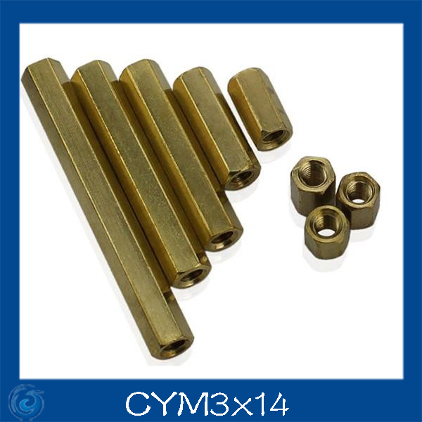 M3*14mm Double-pass Hexagonal Screw nut Pillar Copper Alloy Isolation Column For Repairing New High Quality