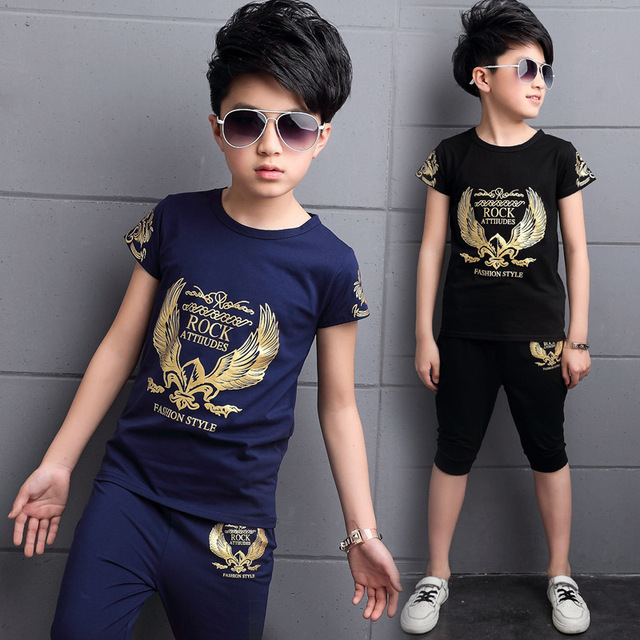 New 2019 Children's Kids Boys Summer Clothing Sets T Shirt And Shorts Sports Tracksuit For Boys Set 4 6 8 9 10 12 Years Old