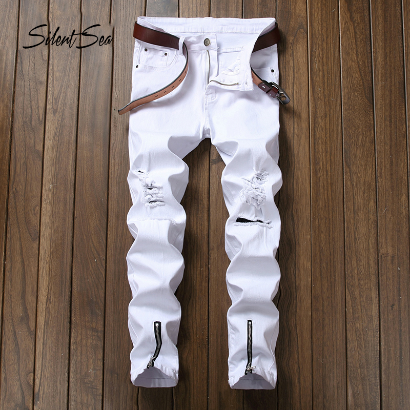 Gersri Men Jeans Ripped Biker Hole Denim Patch Harem Straight Punk Rock Slim Fit Classic Hip Hop White Jeans For Men Pants