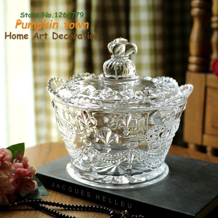 Pot en verre multifonctionnel de style rustique, pot en verre de forme de fleur de couronne impériale de haute qualité pratique, pot de bonbons sculpté de travail fin
