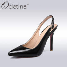 Odetina 2017 Mujeres Sexy Punta estrecha Slingbacks Bombas Verano de Las Señoras de Super High Heels Negro Mujeres Delgadas de Tacón de Aguja Zapatos de Vestir