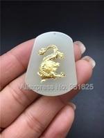 Bianco naturale HeTian Yu 100% Pieno Oro Intarsiato Intagliato Zodiaco Cinese Drago Fortunato Gioielli Ciondolo + Collana di Corda + Certificate