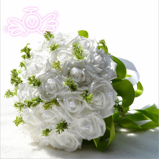 Free Shipping 2016 Artificial bridesmaids Hands Holding white Rose Flower 4 Colors Wedding Decoration bouquet dama de honra