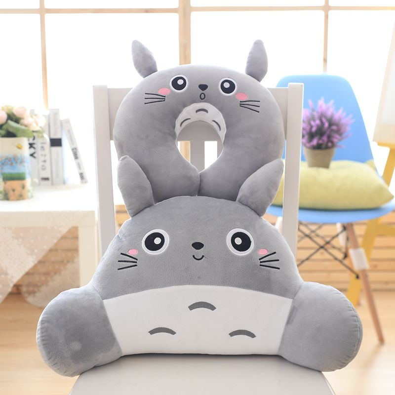 Candice guo plush toy stuffed doll cartoon animal totoro car seat chair waist cushion U shape neck protect soft pillow gift 1pc soft u shape cushion journey from watermelon kiwifruit orange fruit cushions tourism neck pillow autotravel pillows new hot