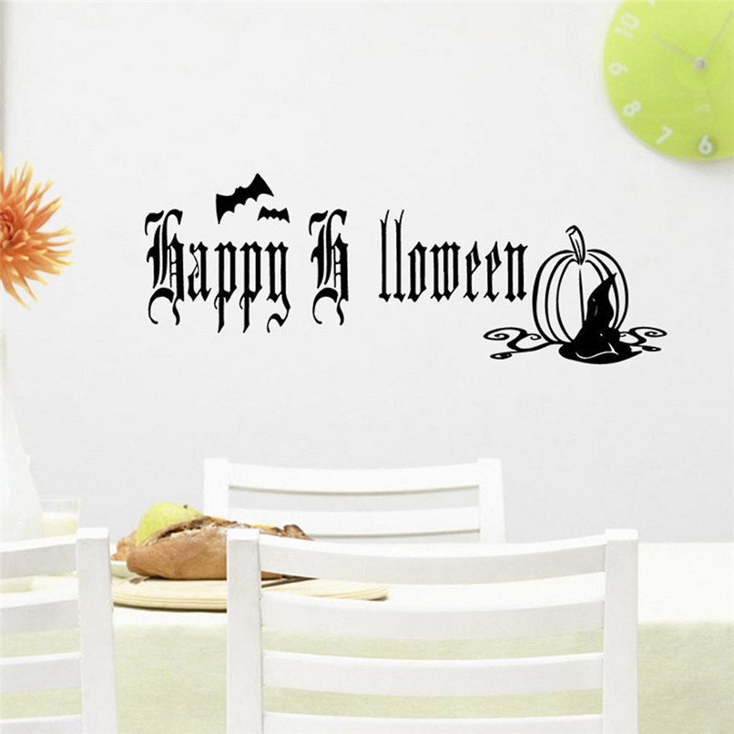 Happy Halloween Home Household Room Wall Sticker Mural Decor Decal Removable New Wholesale Free Shipping 0JL28 #1T3