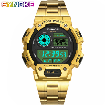 PANARS Fashion Gold Men Sport Digital Watch LED  Display Luminous 50bar Waterproof Shock Electronic Steel Luxury WristWatch