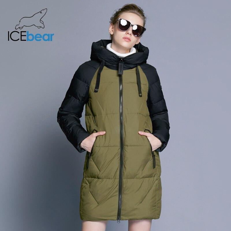 ICEbear Новинка 2018 года Для женщин зимняя куртка с капюшоном Для женщин контраст Цвет средней длины Новый Для женщин хлопковое пальто до колена...
