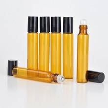 100 unids/lote 5ml 10ML rollo de vidrio ámbar botella de Perfume recargable vacía caja de aceite esencial con tapa de plástico