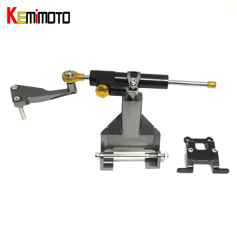 KEMiMOTO MT07 FZ07 Full Set of Steering Damper Mounting Bracket Kit for YAMAHA MT 07 FZ