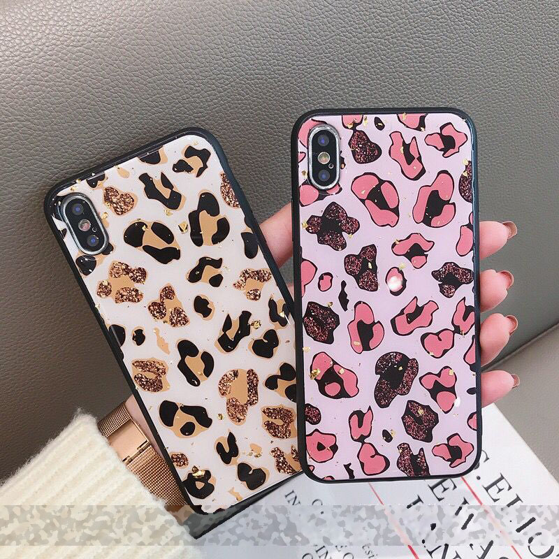 Leopard Gold Foil Silicone Phone Case For iPhone 7 8 X XS Max XR 6 6s Plus Luxury Soft TPU Back Cover Shockproof Coque Fundas in Fitted Cases from Cellphones Telecommunications