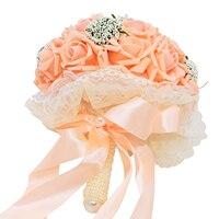 מלאכותי פרחי משי זר קצף ורדים חתונה זר כלה שושבינה זר קישוט פרחי חתונת תחרה שנהב ורוד