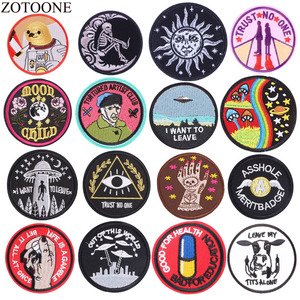 ZOTOONE Space Astronaut Parches Embroidered Iron On UFO Patches For Clothing DIY Stripes Air Force Clothes Stickers Badges E