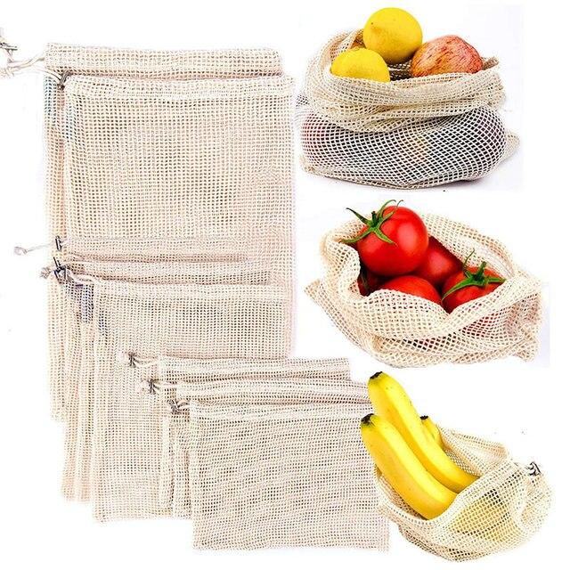 Reutilizables de algodón bolsos vegetales de la cocina de Casa de frutas y verduras de almacenamiento de bolsas de malla con cordón lavable a máquina