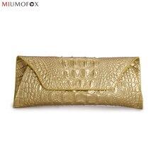 Mode Marke Krokodil Kupplung Leder Handtaschen Split Leder Rindledergeldbeutel Frauen Handtasche Abendgesellschaft Taschen Brieftasche Abendtasche