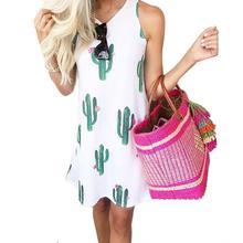 2019 Fashion Female Summer Casual Cactus Print Sundress Clothing Womens Sleeveless Round Neck Loose Beach Party Mini Dress