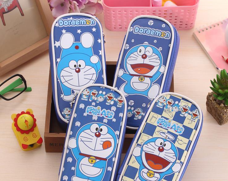 The creative explosion A Doraemon cartoon cute jingle cat bag PU bag pencil pencil case