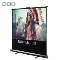 Аао 80 100 дюймовый 16:9 проектор Экран напольная подставка Кино офис PPT дома белой ткани светодиодный ЖК дисплей DLP проекторы HD проекция Экран