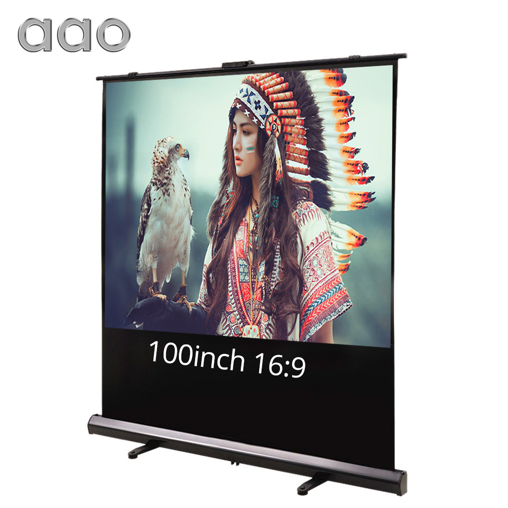 AAO 80 100inch 16:9 Projector Screen Floor Stand Cinema Office PPT Home White Fabric LED LCD DLP Projectors HD Projection Screen