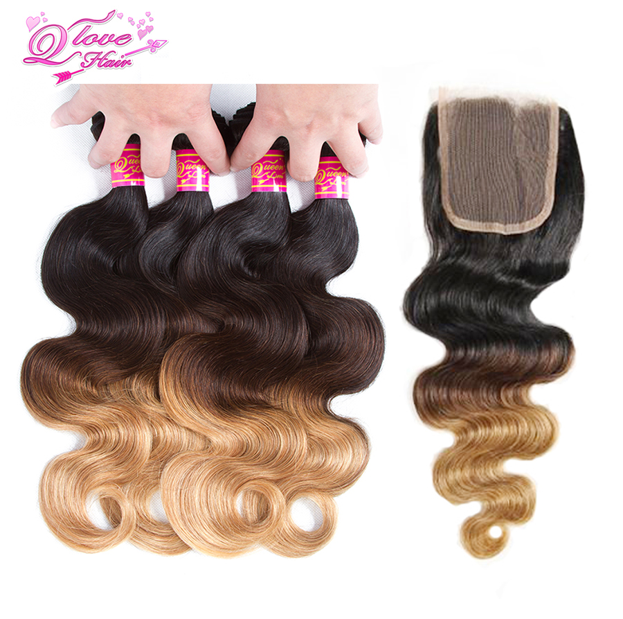 Queen Love Hair Pre-Colored Ombre Indian Body Wave Hair With Closure 1B/4/27 Non Remy Human Hair Bundles With Closure