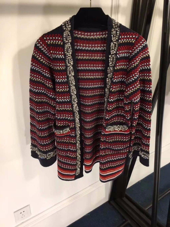 automne Tweed Vadim Manteaux Printemps Silm Bande Vêtements Point Casual Tempérament Femme Mode 2018 Femmes Femelle Ouvrir Manteau De qtfc0