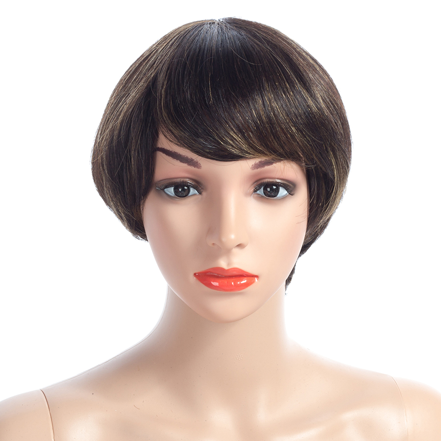 NAYOO 100% Human Hair Bob Wigs Vietnamese Remy Hair Non Lace Wigs Short Wigs With Baby Hair No Tangle For Black Woman