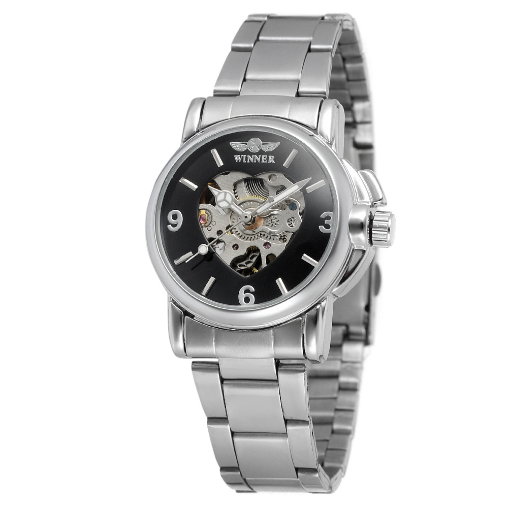 WINNER Classical Relogio Automatic Women's Watch Female Luxury Mechanical Watch Skeleton Stainless Steel Band Ladies Wristwatch luxury brand golden winner luminous automatic mechanical skeleton dial watch mens stainless steel bracelet band men wristwatch