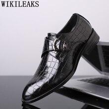 1f36ba37f Monge tira sapatos de crocodilo coiffeur formais sapatos de casamento dos homens  se vestem sapatos oxford