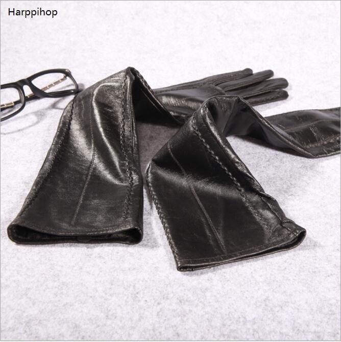 50 cm Extra Longue ligne droite style en cuir de chèvre gants en cuir gants en cachemire doublure sur le coude brassard ensembles livraison gratuite