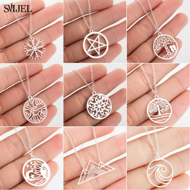 SMJEL Bohemian Nature Necklace for Women Fashion Geometric Flower Life Tree Charm Necklace Choker Vintage Jewelry Wholesale